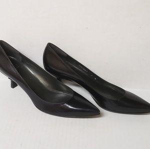 Stuart Weitzman Black Leather Kitten Heels NWOT